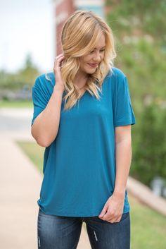Piko classic v-neck t-shirt indigo from Lush Fashion Lounge
