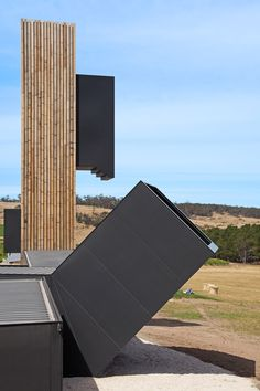 Cumulus Studio uses shipping containers to create lookout tower at a Tasmanian vineyard