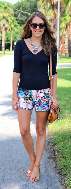 I adore these floral printed shorts from J. Crew, featured on J's Everyday Fashion.
