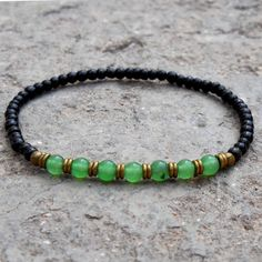 Bracelets - Strength And Balance, Ebony And Aventurine Mala Bracelet With African Trade Beads