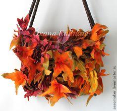 """сумка войлочная """"Барбарис в кленовом сиропе"""" - оранжевый,рыжий,осень,клен"""