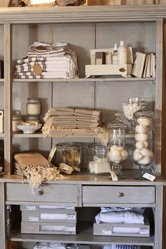 The willows home & garden: around the shop store display in Merchandising Displays, Store Displays, Retail Displays, Market Displays, Window Displays, Shabby Chic Shops, Soap Display, Towel Display, Vibeke Design