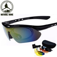 NaturalHome Brand Cycling Glasses Bicycle Bike MTB 2016 Men's Women's Sports Glasses Goggles Eyewear Sunglass 5 Lenses Set