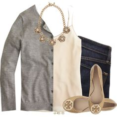 Gray cardigan, cream cami & statement necklace by steffiestaffie on Polyvore featuring J.Crew, Marc by Marc Jacobs, Tory Burch, Ann Taylor and Lord & Taylor