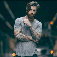photo by Hair : Lock,Stocke & Barrel pomade Outfits Hipster, Hair And Beard Styles, Long Hair Styles, Beard Lover, Moustaches, Beard Tattoo, Facial Hair, Bearded Men, Beautiful Men