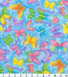 Novelty Cotton Fabric-Butterfly Glitter Blue, , hi-res