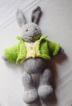 Hand Knitted Bunny  Christmas Gifts  Stuffed Animal  by Hilitos