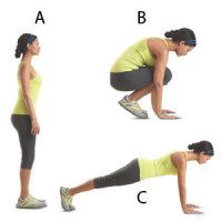 Bend & Thrust: With your arms at your sides, stand with your feet hip-width apart. In one motion, bend your knees and place your hands on the floor on either side of your legs, then jump both feet back so you're in a pushup position with your back straight. Quickly reverse the motion to return to start.