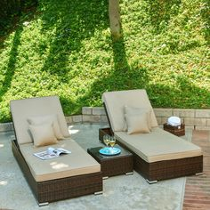 Aluminum wicker lounge set includes: Two lounge chairs and one table. The set comes in a dark brown color along with a light waterproof beige cushion.