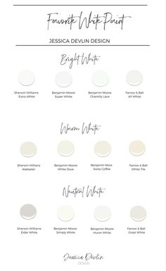 How to Choose the Perfect Interior Painting Colors — Jessica Devlin Design interior White paint colors. my favorite white paints, warm white paint, bright white paint, neutral white paint. Interior Paint Colors, Paint Colors For Home, House Colors, Home Interior Design, Interior Painting, Paint Colours, Interior Plants, Interior Trim, Off White Paint Colors