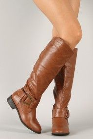 Bamboo Asiana-73 Buckle Round Toe Riding Knee High Boot