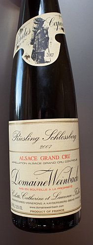 Alsace grand cru Schlossberg Riesling 2007 Domaine Weinbach. #DrinkAlsace
