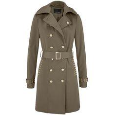 Trenchcoat mit Nieten - Rockiger khaki farbiger Trenchcoat von Melrose. Der Mantel mit lässiger Nietenverzierung begeistert uns durch die perfekte Passform, die durch einen Gürtel in der Taille individuell reguliert werden kann und dem femininen Kragen. - ab 47,99€