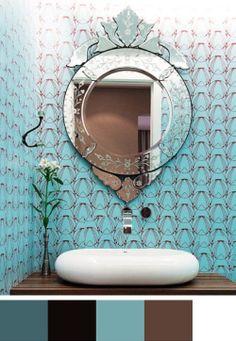 Papel de parede no lavabo é uma opção barata e surpreendente.  Via Casa e Jardim.  Decore com esta idéia: Papel de parede vintage  Espel...