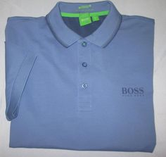 Men's HUGO BOSS Green Label Polo Shirt Sz L Large Slim Fit  -  Gray #HUGOBOSS #PoloRugby