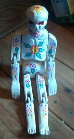 """13"""" Day of the Dead Wooden Doll Skeleton Hand carved wood jointed figure"""