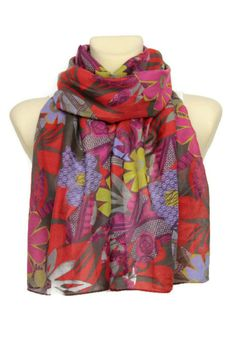 Floral Silk Scarf  Red Multicolor Infinity Scarf  by LocoTrends