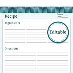recipe templates for word