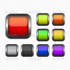 Square Buttons #GraphicRiver Vector square buttons. File is in eps10 format. Created: 13November13 GraphicsFilesIncluded: VectorEPS Layered: No MinimumAdobeCSVersion: CS Tags: background #badge #blank #buttons #chrome #collection #colorful #design #element #glossy #graphic #icons #illustration #interface #internet #menu #navigation #push #rectangle #rectangular #shape #shiny #site #square #style #symbol #template #vector #web #website