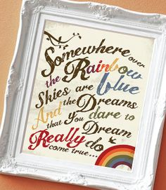 Over the Rainbow - Print for a Kid's Room on Etsy, $15.00 #wizardofoz #etsy #somewhereovertherainbow
