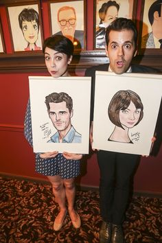 Leanne Cope and Robbie Fairchild with their Sardi's caricatures.