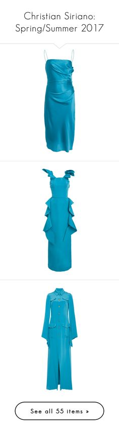 """Christian Siriano: Spring/Summer 2017"" by livnd ❤ liked on Polyvore featuring ChristianSiriano, springsummer2017, livndfashion, livndchristiansiriano, dresses, blue square neck dress, draped dress, slip dress, blue dress and drapey dress"