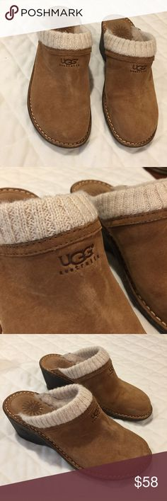 UGG suede wedge mule clogs with sweater trim UGG suede wedge mule clogs with sweater trim excellent preloved condition UGG Shoes