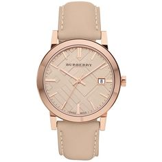 Burberry Tan Dial Leather Strap Unisex Watch found on Polyvore featuring jewelry, watches, accessories, unisex watches, dress watch, burberry jewelry, burberry watches and water resistant watches