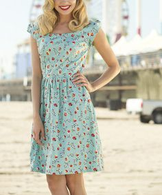 Love this Blue Floral Cap-Sleeve Dress by Shabby Apple on #zulily! #zulilyfinds