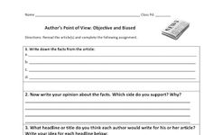 Free download! Literacy Station Inspiration: Author's Perspective: Objective and Biased