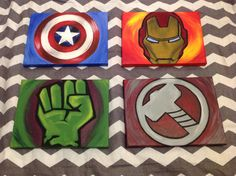 Avengers Paintings Set of 4 by on Etsy - Visit to grab an amazing super hero shirt now on sale!