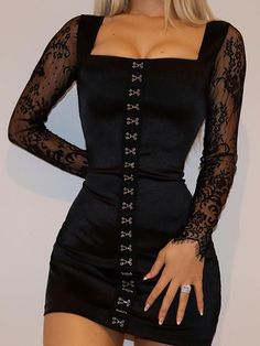 Drawing Fashion Women's Sexy Lace Long Sleeve Bag Hip Dress - Material: Lace Gender: Women Item Type:Dress Color: Black Size: S, M, L Tight Dresses, Sexy Dresses, Vintage Dresses, Short Dresses, Fashion Dresses, Hijab Fashion, Bodycon Fashion, Elegant Dresses, Pretty Dresses