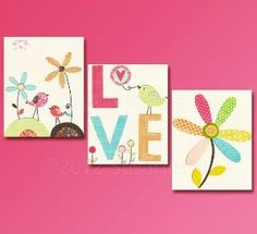 LOVE Nursery Art Print Set, Baby girl room, Kids Room Decor, Baby/Children Wall Art - Colorful, Birds, Flowers, Orange, Aqua Blue, Pink. $39.95, via Etsy. by Wendy63