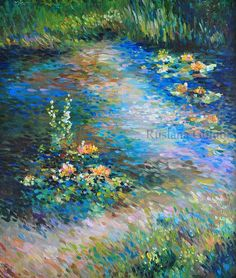 Items similar to Water lilies Lotus flowers Oil painting Impressionist art Monet style Pointillism Plein air Summer nenuphar illustration Rustic wall print on Etsy Spiritual Paintings, Impressionist Paintings, Oil Paintings, Acrylic Paintings, Oil Painting Flowers, Nature Illustration, Water Lilies, Landscape Art, Landscape Paintings
