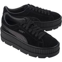 Fenty x Puma by Rihanna Cleated Creeper Suede Black // Plateau suede... (2,640 MXN) ❤ liked on Polyvore featuring shoes, sneakers, trainers, creeper sneakers, black suede shoes, sports shoes, black sport shoes and puma shoes
