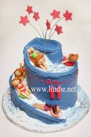Image result for waterslide cake Waterslide Cake, Swimming Cake, Theme Cakes, Birthday Bash, Cake Ideas, Cake Recipes, Anna, Parties, Desserts