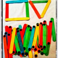 Painted lolly pop sticks with Velcro dots! Hours of fun for toddlers exploring shape and space! Maths Eyfs, Eyfs Activities, Gross Motor Activities, Infant Activities, Activities For Kids, Preschool Education, Preschool Math, In Kindergarten, Toddler Classroom