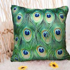 "Amazon.com - Luk Oil Green Peacock Feathers Throw Pillowcase Quadrate Decoration Bedside Cushion Cover (19.6""X19.6"") -"
