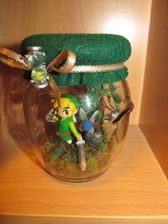 Link & Ciela the fairy Legend of Zelda Phantom Hourglass Jar Forest adventure scene SMALL diorama terrarirum. $50.00, via Etsy.