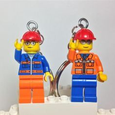 Construction Worker LEGO® Minifigure Keychain