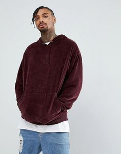 ASOS Oversized Velour Hoodie In Red - Red