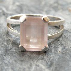 Rose Quartz + Sterling Silver Ring | Etsy