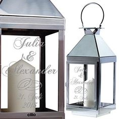 Hochzeitslaterne mit Gravur Wedding lantern by Cilio made of stainless steel. The engraving can be m Wedding Lanterns, Candle Lanterns, Candle Sconces, Candles, Lantern Image, Audi, Personalized Wedding, Gazebo, Wedding Gifts