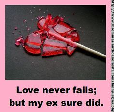 Love never fails; but my ex sure did. By L. B. Sommer, author of 199 WAYS TO IMPROVE YOUR RELATIONSHIPS, MARRIAGE, AND SEX LIFE http://www.lbsommer-author.yolasite.com/funny-signs.php#