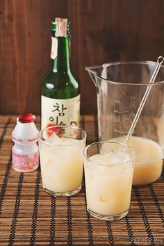 Yakult Soju Sprite Mix - How to: 2 bottles Yakult, 1/2 cup Korean Soju, 1 cup Sprite, 1-2 cups ice, Mix and enjoy!