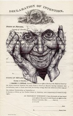 'we are all clowns with too much face paint' Bic biro drawing on US citizenship form. By Mark Powell. Biro Art, Biro Drawing, Drawing Faces, Bic Pens, Ballpoint Pen Drawing, Mark Powell, Collages, Pencil Portrait, Illustrations