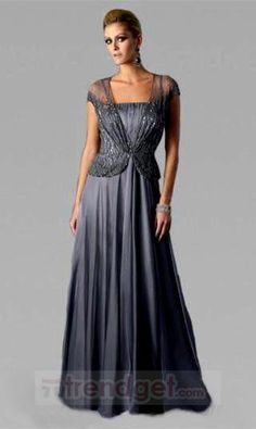 Young A-line Off-the-shoulder Floor-length Chiffon Ruffles Silver Mother of the Bride Dresses - $126.99 - Trendget.com