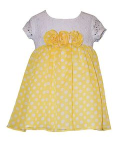 Yellow Polka Dot Short-Sleeve Dress - Infant