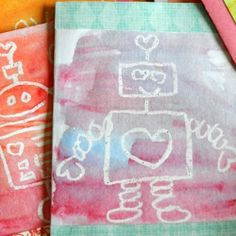 Make some fun Valentines using a white crayon and watercolors.