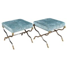 Pair Italian Brushed Steel and Brass Rams Head X-Base Benches